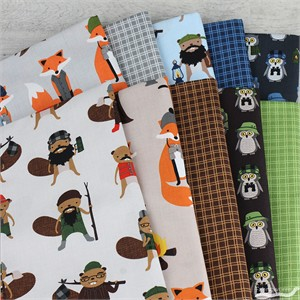 Andie Hanna for Robert Kaufman, Campsite Critters in FAT QUARTERS 8 Total (PRECUT)