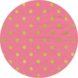 Rifle Paper Co. for Cotton and Steel, Wonderland, Caterpillar Dots Pink Metallic