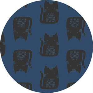 Sarah Golden for Andover, Maker Maker LINEN, Cats Blue