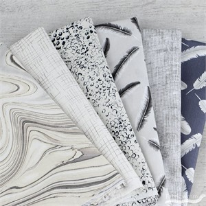 Jennifer Sampou for Robert Kaufman, Chalk and Charcoal in FAT QUARTERS 6 Total