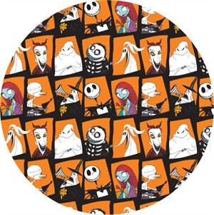 Camelot Fabrics, Nightmare Before Christmas, Character Blocks Orange