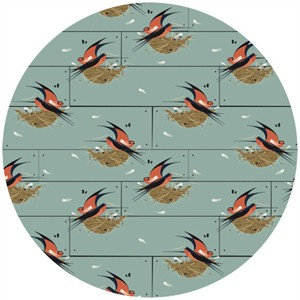 Charley Harper for Birch Fabrics Organic, Nurture, KNIT, Barn Swallow