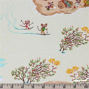 Heather Ross for Windham, Sugarplum, Christmas Mice Cream