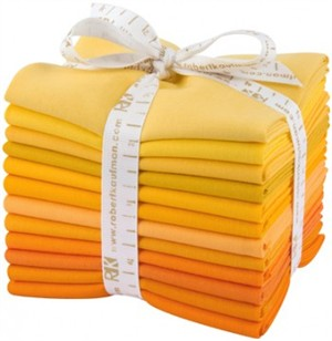 Robert Kaufman, PRE-CUT Kona Cotton, Citrus Burst in FAT QUARTERS 12 Total