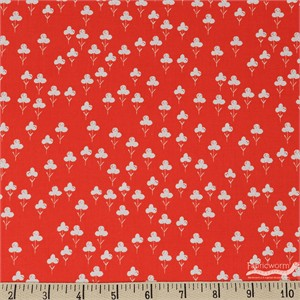 Sarah Watts for Cotton and Steel, Front Yard, Clovers Red