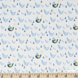 Camelot Fabrics, Cluck Moo Oink, Chickens Blue