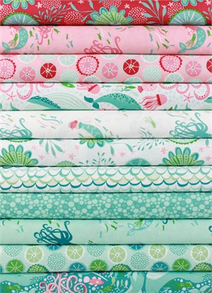 Stacy Iest Hsu for Moda, Coral Queen of the Sea in FAT QUARTERS 10 Total