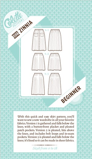 Colette, Sewing Pattern, Zinnia Skirt