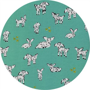 Alexia Marcelle Abegg for Cotton and Steel, Clover, Little Lambs Turquoise