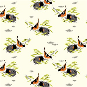 Charley Harper for Birch Organic Fabrics, Bird Architects, Baltimore Oriole