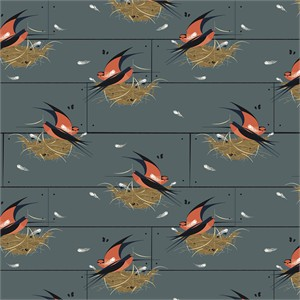 COMING SOON, Charley Harper for Birch Organic Fabrics, Bird Architects, Barn Swallow Graphite