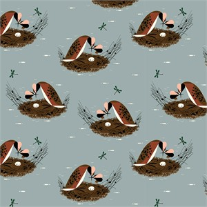 Charley Harper for Birch Organic Fabrics, Bird Architects, Horned Grebe
