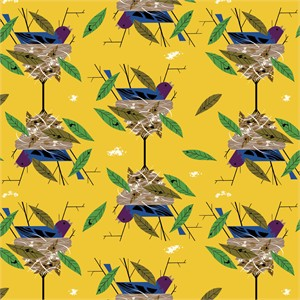 Charley Harper for Birch Organic Fabrics, Bird Architects, Indigo Bunting