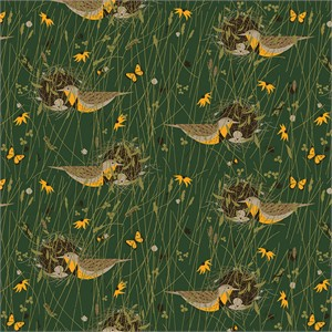 Charley Harper for Birch Organic Fabrics, Bird Architects, Eastern Meadowlark