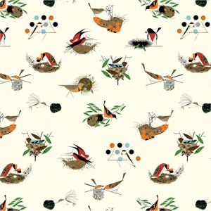 Charley Harper for Birch Organic Fabrics, Bird Architects, WIDE WIDTH, Large Architects Main