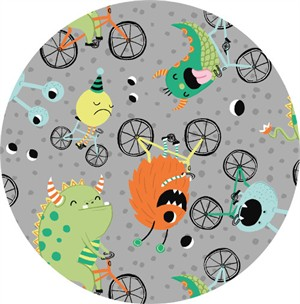 Clothworks, Super Bad Monsters, Cycling Madness Gray