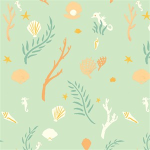 Emily Winfield Martin for Birch Organic Fabrics, Saltwater, KNIT, Flotsam and Jetsam Mint
