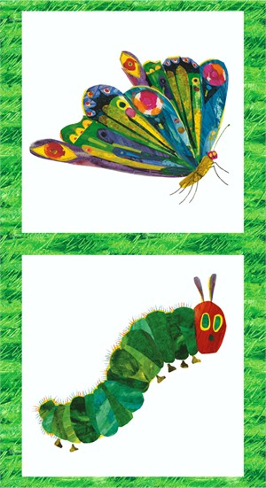 "Eric Carle for Andover, The Very Hungry Caterpillar, Metamorphosis Panel Multi (23"" Panel)"