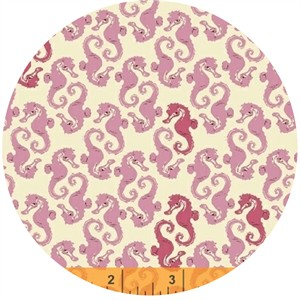 Heather Ross for Windham, Mendocino, Sea Horses Cream/Pink