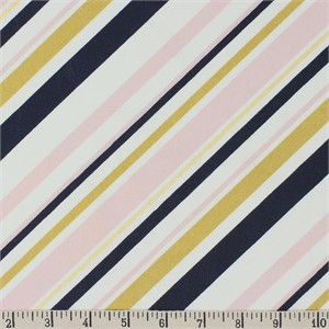 Jay-Cyn Designs for Birch Organic Fabrics, Mod Nouveau, Stripe Blush Metallic