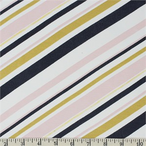 Jay-Cyn Designs for Birch Organic Fabrics, Mod Nouveau, KNIT, Stripe Blush Metallic