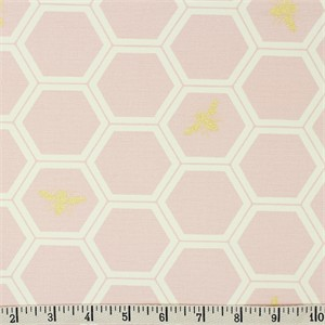 Jay-Cyn Designs for Birch Organic Fabrics, Mod Nouveau, CANVAS, Honeycomb Blush Metallic
