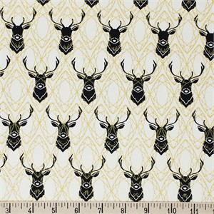 COMING SOON, Jay-Cyn Designs for Birch Organic Fabrics, Inkwell, CANVAS, Elk Diamonds Black/Metallic