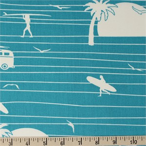Jay-Cyn Designs for Birch Organic Fabrics, Summer '62, Summer Main Turquoise