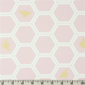 Jay-Cyn Designs for Birch Organic Fabrics, Mod Nouveau, Honeycomb Blush Metallic