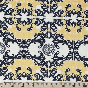 COMING SOON, Jay-Cyn Designs for Birch Organic Fabrics, Mod Nouveau, Horned Lace Metallic