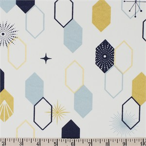 COMING SOON, Jay-Cyn Designs for Birch Organic Fabrics, Mod Nouveau, Oblong Hex Mint Metallic