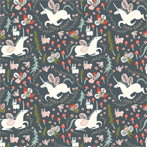 Kristen Balouch for Birch Organic Fabrics, Folkland, Enchanted Unicorns Dusk