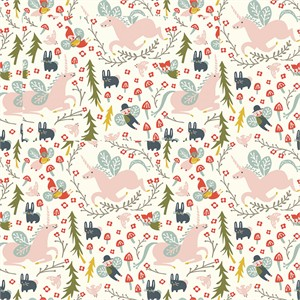 Kristen Balouch for Birch Organic Fabrics, Folkland, KNIT, Enchanted Unicorns Cream