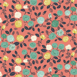 Miriam Bos for Birch Organic Fabrics, The Hidden Garden, KNIT, Roses Coral