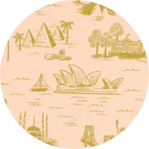 Rifle Paper Co. for Cotton and Steel, Les Fleurs, LAWN, City Toile Peach