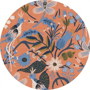 Rifle Paper Co. for Cotton and Steel, Les Fleurs, CANVAS, Folk Birds Peach