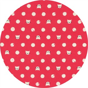 Sarah Watts for Cotton and Steel, Cat Lady, Friskers Coral
