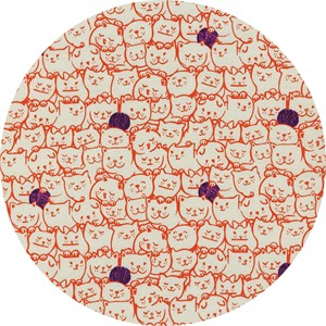 Sarah Watts for Cotton and Steel, Cat Lady, Stack-o-cats Coral