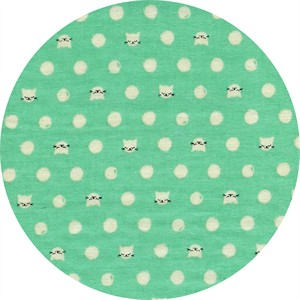 Sarah Watts for Cotton and Steel, Cat Lady, DOUBLE GAUZE, Friskers Teal