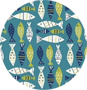 Windham Fabrics, Seaside, All the Fish Teal