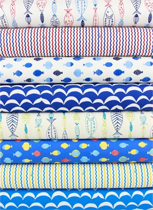 Cosmo Textiles, Gone Fishin' in FAT QUARTERS 8 Total