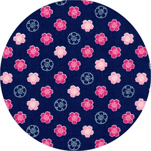 Cosmo Textiles, Sakura II, Bloom Navy