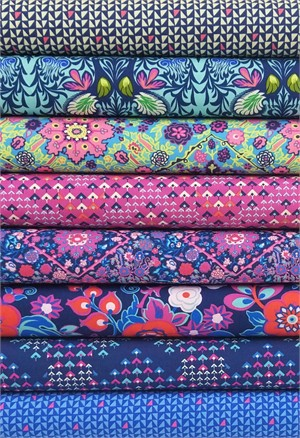 Amy Butler for Free Spirit, Soul Mate, Crisp Indigo in FAT QUARTERS 8 Total