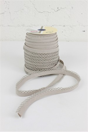 "Fany, 5/16"" Crochet Edge Bias Tape, Linen"