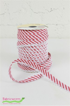 "Fany, 5/16"" Crochet Edge Bias Tape, Stripe Red"