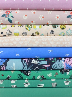 Fabricworm Custom Bundle, Curious Garden in FAT QUARTERS 9 Total