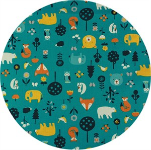 Japanese Import, SHEETING, Cute Critters Teal