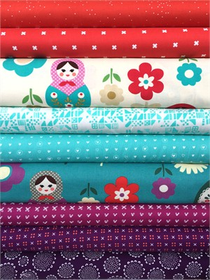 Fabricworm Custom Bundle, Daisy Dolls in FAT QUARTERS 9 Total