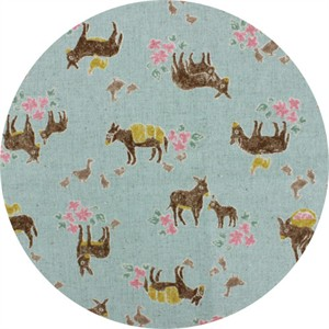 Cosmo Textiles, CANVAS, Delightful Donkeys Blue