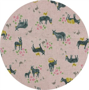 Cosmo Textiles, CANVAS, Delightful Donkeys Pink